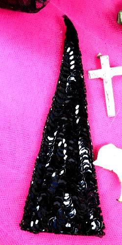 FS473 Black Triangle Beaded Sequin Applique 5\