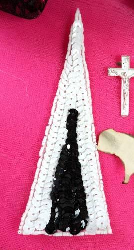 FS473 White Black Triangle Beaded Sequin Applique 5\