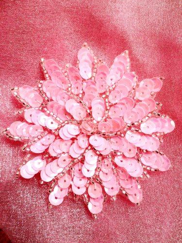 FS474 Pink Floral Beaded Sequin Applique 3\