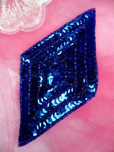 FS475L Blue Diamond Sequin Beaded Applique 5\