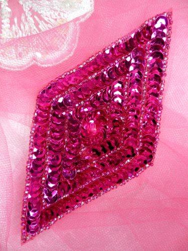 FS475L Fuschia Diamond Sequin Beaded Applique 5\