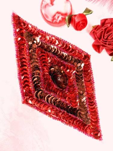 FS475L Red Bronze Diamond Beaded Sequin Applique 5