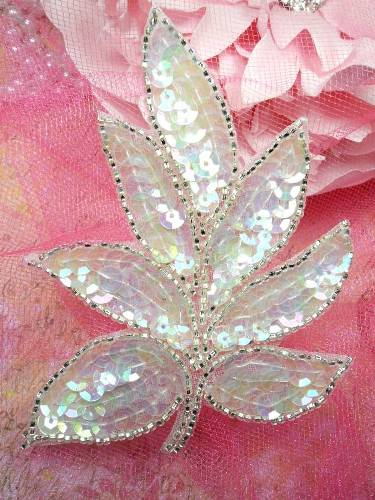FS476 Crystal AB Silver Beaded Sequin Applique 4\