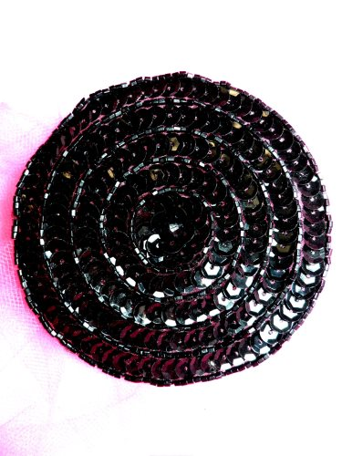 FS479 Round Circle Black Applique Sequin Beaded Patch 3.5\