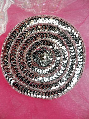 FS479 Round Circle Silver Applique Sequin Beaded Patch 3.5\