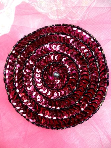 FS479 Round Circle Wine Applique Sequin Beaded Patch 3.5\