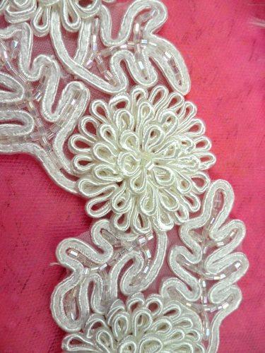 FS4796 White Beaded Bridal Sash Trim 3D Floral Vine 2.25\