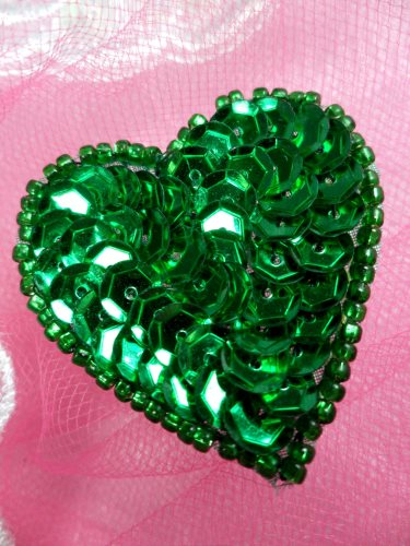 FS510 Green Valentine Heart Sequin Beaded Applique 1.5\