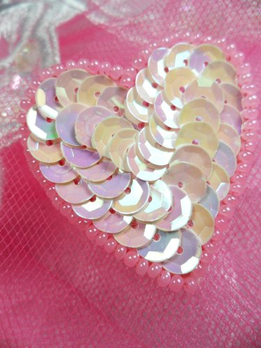 FS510 Pink AB Valentine Heart Sequin Beaded Applique 1.5\