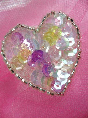 FS510 Pastel Multi Valentine Heart Sequin Beaded Applique 1.5\