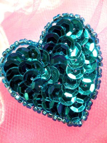 FS510 Turquoise Valentine Heart Sequin Beaded Applique 1.5\