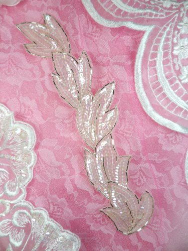 FS511 Leaf Crystal AB Sequin Silver Beaded Applique Patch 8.25\