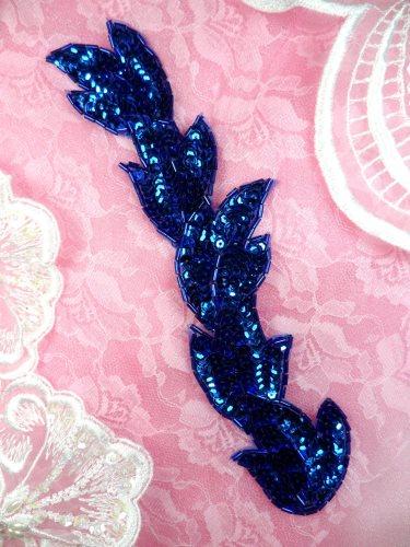 FS511 Leaf Royal blue Sapphire Sequin Beaded Applique Patch 8.25