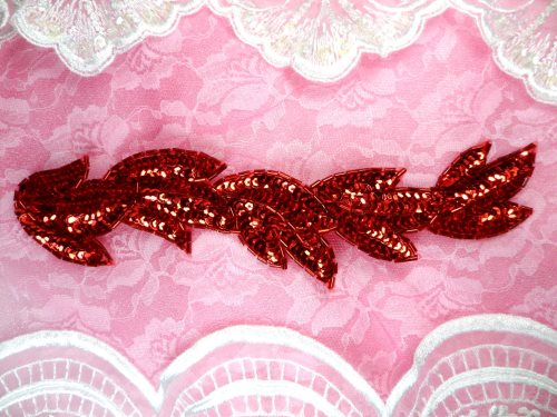 FS511 Red Leaf Beaded Sequin Applique Patch 8.25\