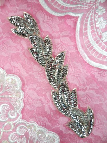 RMFS511REDUCED Leaf Silver Sequin Beaded Applique Patch 8.25