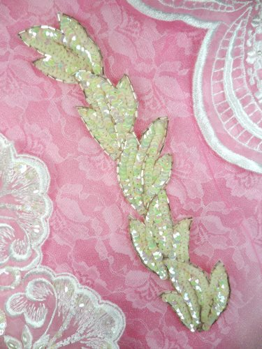 FS511 Leaf White AB Sequin Silver Beaded Applique Patch 8.25\