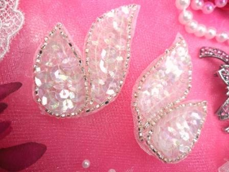 FS549  Crystal AB Silver Mirror Pair Beaded Sequin Appliques 2\