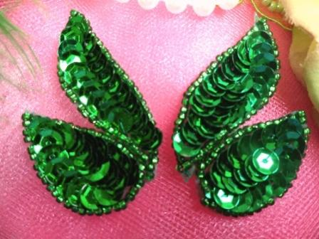 FS549 Kelly Green Mirror Pair Beaded Sequin Appliques 2\