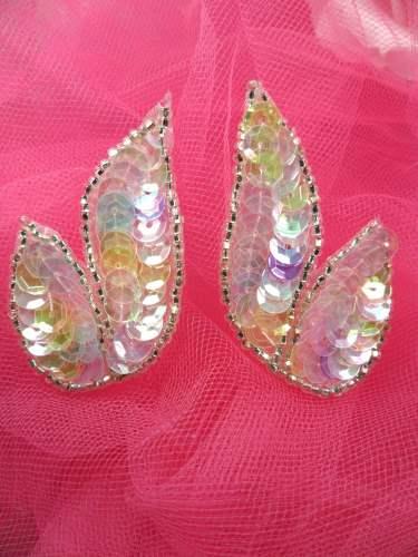 FS549 Pastel Multi Mirror Pair Beaded Sequin Appliques 2\
