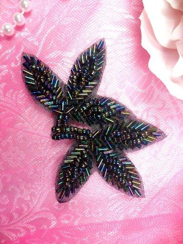 FS566A Black Iris Beaded Leaf Applique 3.5