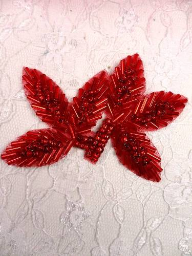 FS566A Red Beaded Leaf Applique 3.5
