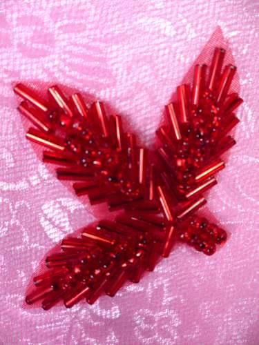 FS566B Red Beaded Leaf Applique 2.25