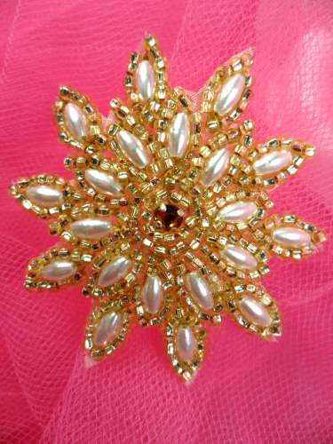 FS5908S Gold Pearl Beaded Applique 2\