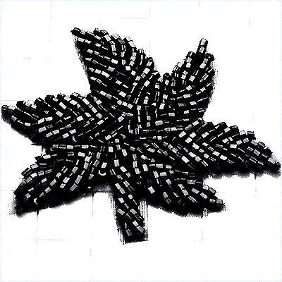FS601 Black Leaf Applique Beaded 2.75\