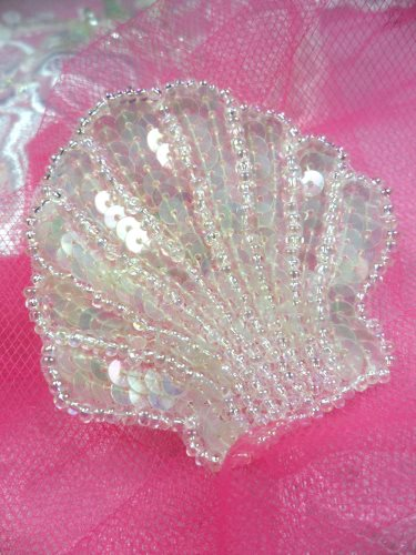 FS604 Seashell Ocean Crystal AB Applique Sequin Beaded Nautical Patch 2\
