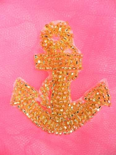 FS721s Nautical Anchor Gold Beaded Applique 2.25