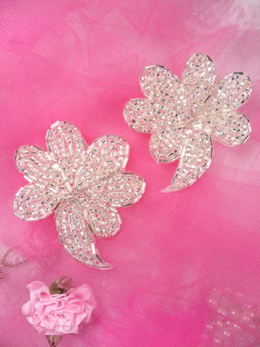 FS739 Silver Beaded Mirror Pair Sequin Appliques 2.5