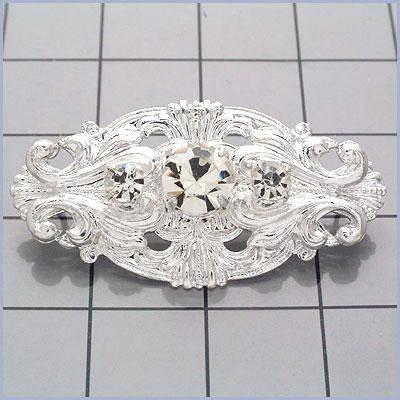 FS7563 Silver Rhinestone Ornament Embellishment 1.75\