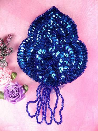 FS768  Blue Epaulet Beaded Sequin Applique 5.75