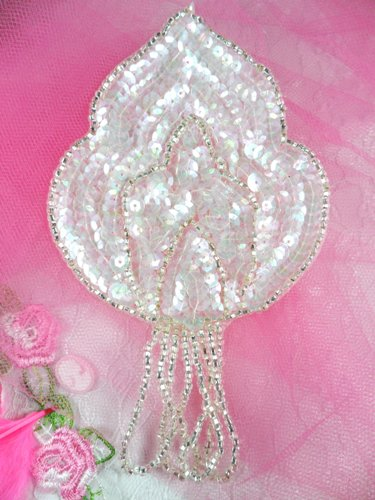 FS768  Crystal AB Silver Epaulet Beaded Sequin Applique 5.75
