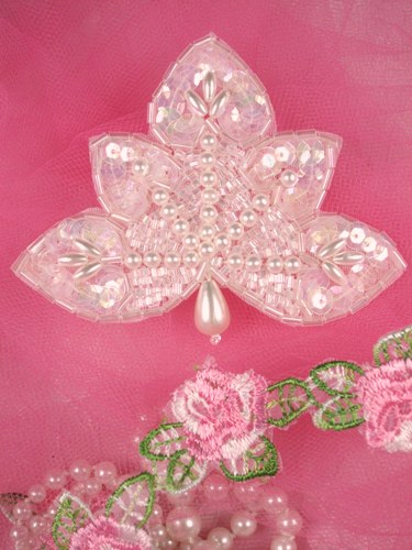 FS83B Crystal AB Pearl Beaded Sequin Applique 3.5