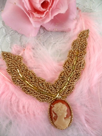 FS858 Gold Cameo Collar Neckline Beaded Applique 3.5