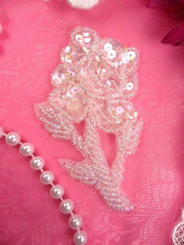FS89  Flower Applique Crystal Sequin Beaded 3.25\