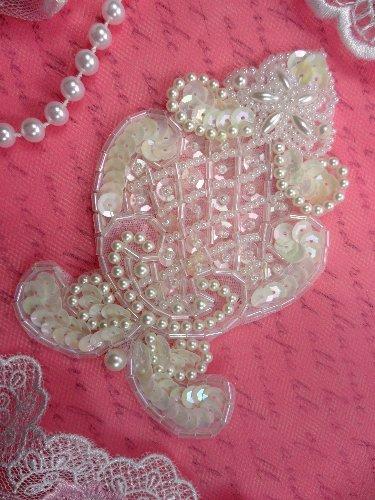 FSV100 Designer White AB Sequin Pearl Beaded Applique 4.0\
