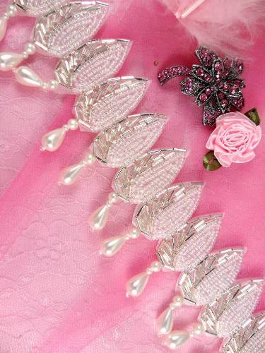 FSV150A  Leaf drops White Pearl Crystal AB Silver Beaded Trim 2.25\
