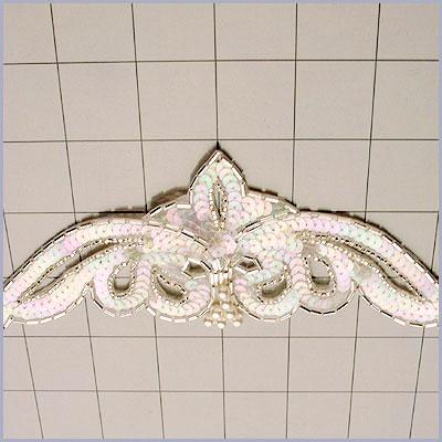 FSV181A  Bridal Sash Applique Crystal AB Sequin Silver Beaded w/ Pearl 8.5\