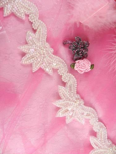 FSV183 Arms of Love Crystal AB Beaded Sequin Trim 2.5\