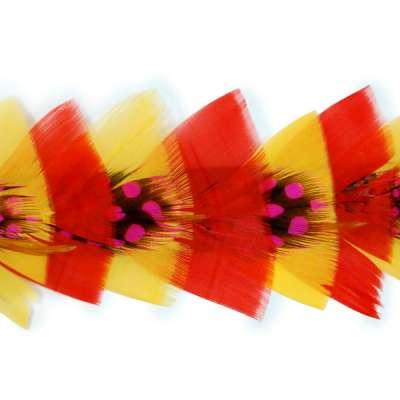 P4013 Red Orange & Fuchsia Feather Trim Pre-Cut 36