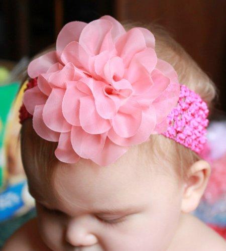 GB10 Layered sheer chiffon Flower on Crochet headband 4 Colors Available
