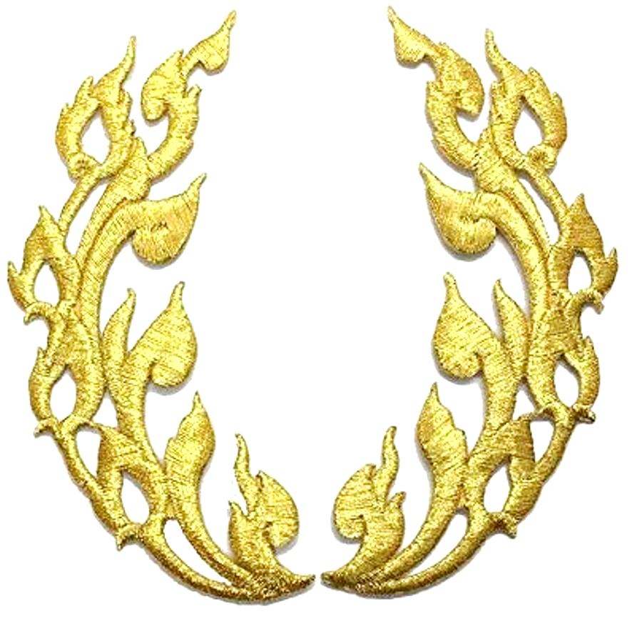 Gold Metallic Flames of Fire Design Iron On Embroidered Appliques 8 GB1000X