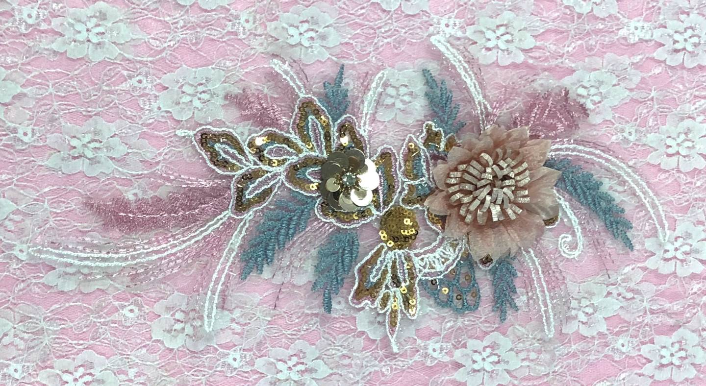 3D Applique Sequin Rhinestone Pink Blue Gold Venice Lace Floral Sewing Clothing Patch 12 GB1009