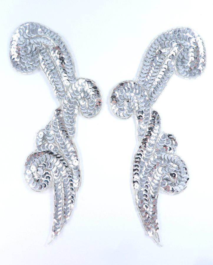Sequin Appliques Mirror Pair Silver Beads Sewing Motifs 8 GB1005X