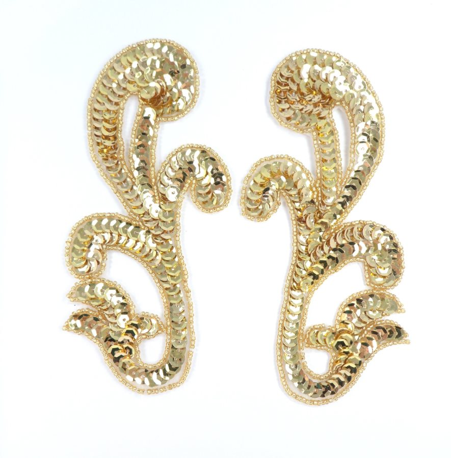 Sequin Appliques Mirror Pair Gold Beads Sewing Motifs 7 GB1006X
