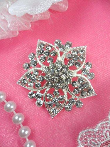 GB101  Bridal Rhinestone Brooch Pin Vintage Silver Crystal Glass 1.75\