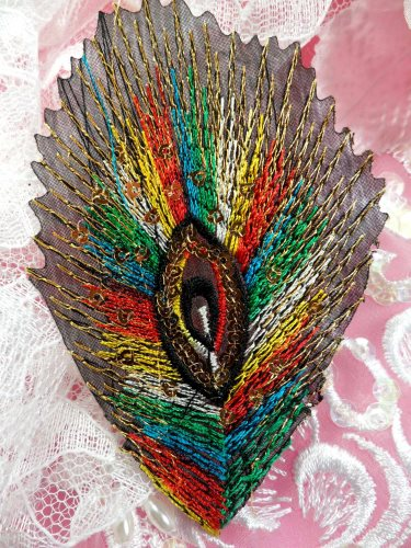 GB103 Embroidery Applique Multi-color Feather Sequined Patch 4\