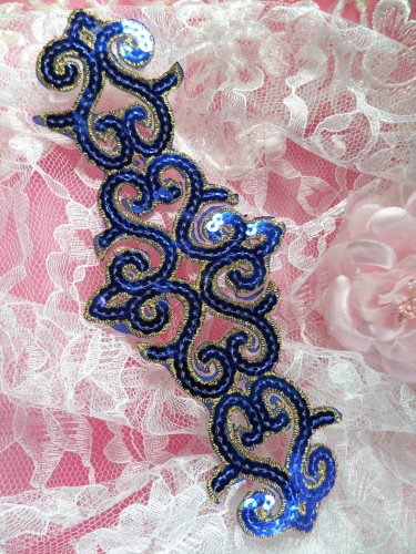 GB104 Blue Gold Sequin Applique Iron On Patch 8.5\